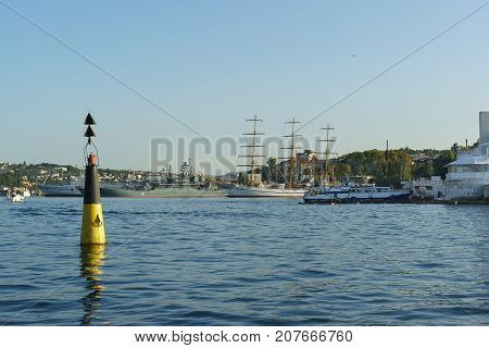 A Bright Beacon At The Entrance To Sevastopol Bay, Training Three-masted Frigate Khersones, A Large