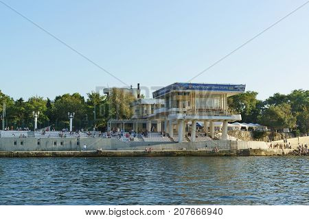 View From The Sea On The Promenade Of The City, Nakhimov Avenue And Grandstand To View The Naval War