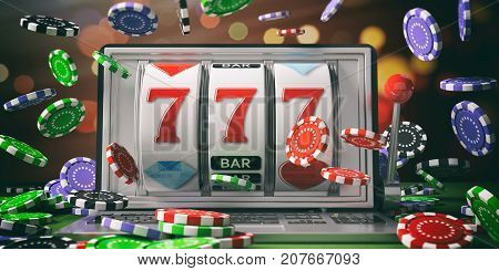 Slot Machine On A Laptop Screen And Falling Poker Chips. 3D Illustration