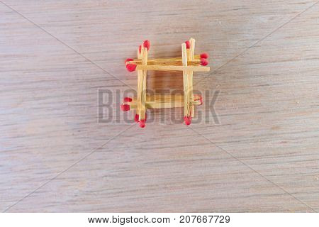 match stalk with red head concept energy old vintage on wooden floor background with copy space add text ( high definition image )