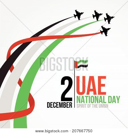 United Arab Emirates national day background design with colorful smoke from jet plane. UAE holiday celebration background. Spirit of the union concept.