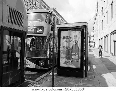Red Bus In London Black And White