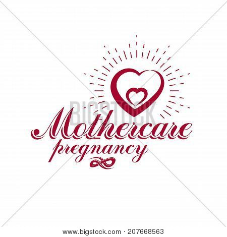 Vector heart hand-drawn emblem isolated on white. New life conceptual symbol. Neonatal care center conceptual symbol