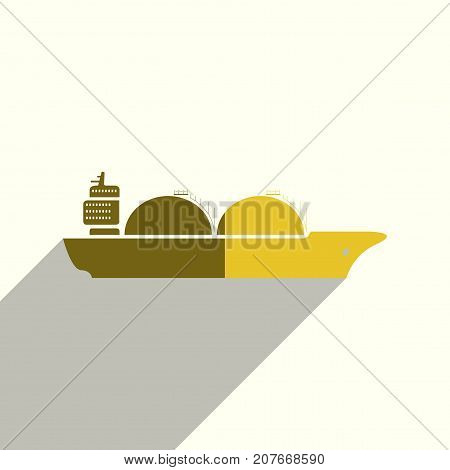 Sea transport flat icons with of shadow. Simple vector illustration