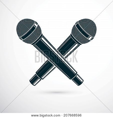 Two microphones crossed vector illustration. Social media influence broadcasting concept.