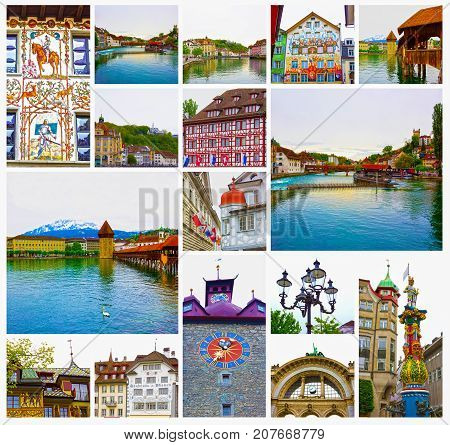The collage from views of Luzern at Switzerland