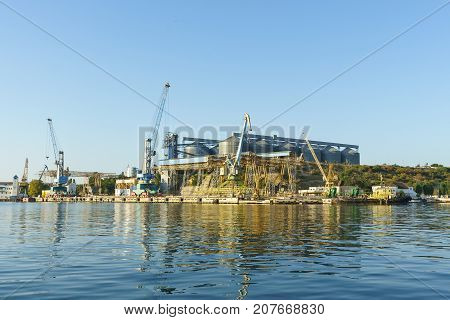 A View Of The Sevastopol Bay Grain Terminal And Loading Cranes Seaport