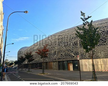 Paris France, 24 September 2017: view of Jean-Bouin Stadium home of Stade Francais rugby team and will host 2024 summer olympic games rugby competition and gay games 2018 opening ceremony