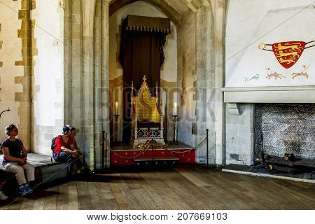 LONDON, GREAT BRITAIN - MAY 16, 2014: This is the throne room in the basement of the Wakefield Tower of the Tower of London.