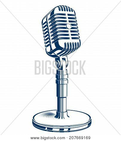 Recorder microphone vector illustration isolated on white. Global broadcasting journalism concept.