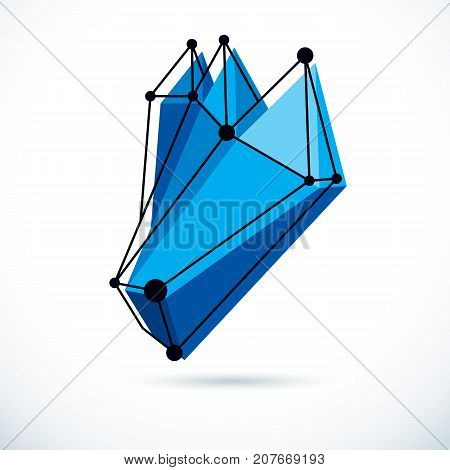 Abstract geometric 3D wireframe object corporate technology vector illustration.