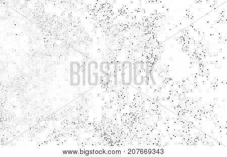 Subtle black halftone vector texture overlay. Monochrome abstract splattered white background. Dotted grain black and white gritty grunge backdrop. Dot and circle dirty effect