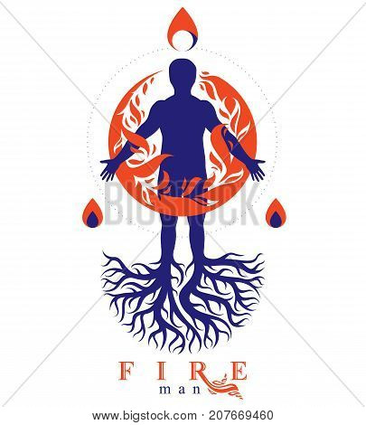 Vector illustration of athletic man composed with tree roots fire person as bunch of the powerful energy covered with a fireball.