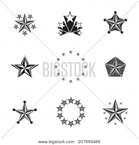 Ancient Stars emblems set. Heraldic vector design elements collection. Retro style label heraldry logo.