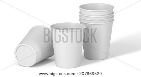 White cardboard or paper cups on white background. Disposable cups for beverages. Set template for the placement of the logo. 3D rendering