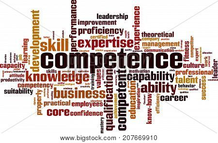 Competence word cloud concept. Vector illustration on white