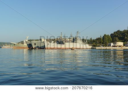 Auxiliary Vessels Of The Black Sea Fleet In The Quarantine Bay Of Sevastopol