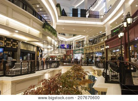 Bangkok Promerde Shopping Mall 22 January 2017 people are shopping around in shopping mall for New Year Festival.