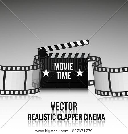 Cinema Vector Poster Design Template Movie Time Background Banner Shining Sign