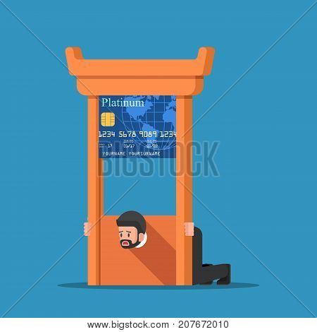 Businessman Stuck In Credit Card Guillotine.