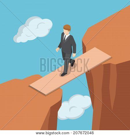 Isometric Businessman Walking On Wooden Bridge Across The Gap Between Cliff.