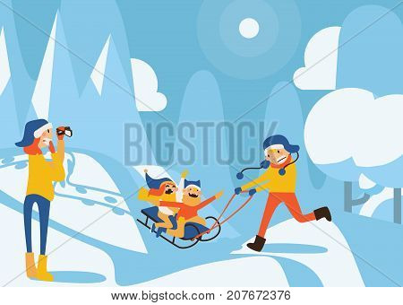 Happy family illustration with kids sledding, father riding, mother recording with video camera in winter day scene. Snowdrifts and trees on background. Horizontal illustration