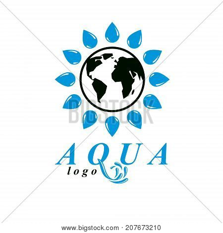Vector blue clear water drop symbol for use in mineral water advertising. Body cleansing concept.