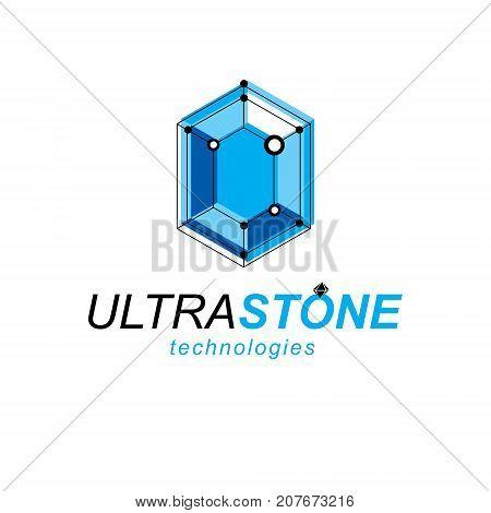Technology conceptual emblem. Abstract three-dimensional shape vector design element.