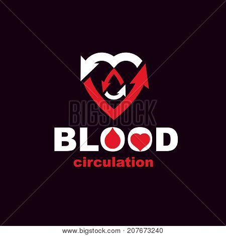 Vector red heart with blood circulation inscription with direction arrows. Blood transfusion metaphor medical care emblem for use in pharmacy.