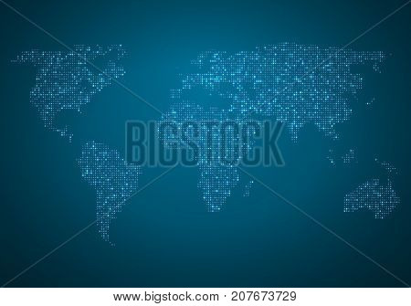Illustration of Vector Global Map. World Map Glowing Atlas