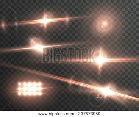 Illustration of Vector Lens Flare Effect. Realistic Sun Flare Energy Beam Explosion on Transparent Background