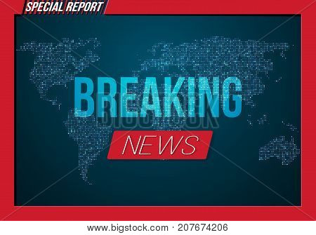Illustration of Vector Breaking News Banner. Broadcast News Design Template on Glowing Planet Background