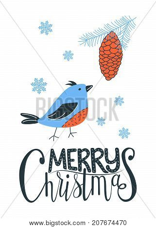 Merry Chrismas greeting card with a bird and a pine cone. Vector illustration