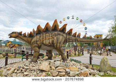 KIROV, RUSSIA - AUGUST 30, 2017: Sculpture of a stegosaurus close-up on a cloudy day.