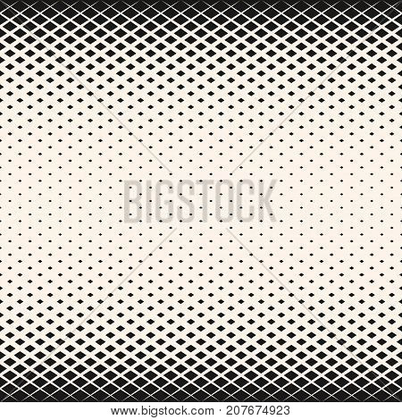 Vector halftone geometric seamless pattern with diamond shapes, crystals, rhombuses. Abstract monochrome background with gradient transition effect. Design for decor, prints, textile. Diamond background. Crystals background. Rhombuses background.
