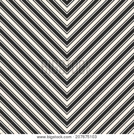 Vector stripes seamless pattern. Chevron texture. Black and white diagonal lines. Modern abstract geometric background. Simple striped template. Design for decor. Stripes pattern. Lines pattern. Herringbone pattern. Diagonal pattern. Chevron pattern