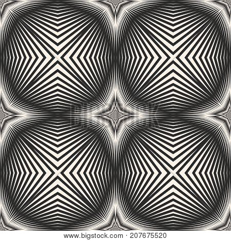 Vector striped seamless pattern with diagonal cross, lines intersecting stripes, stars. Abstract monochrome geometric texture. Optical illusion. Modern repeat background. Design background. Cross background. Stripes background. Stars background.