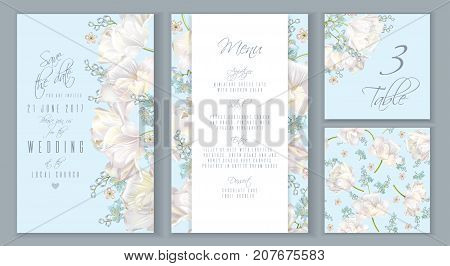 Vector wedding invitation card set with white tulip flowers on blue. Save the date, menu, table number cards, seamless pattern. Can be used as greeting card, floral design for cosmetic, beauty products