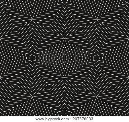 Subtle vector geometric background texture, seamless pattern with thin lines, rhombuses, linear stars, repeat tiles. Dark abstract minimalist backdrop. Monochrome design for prints, decor, covers.