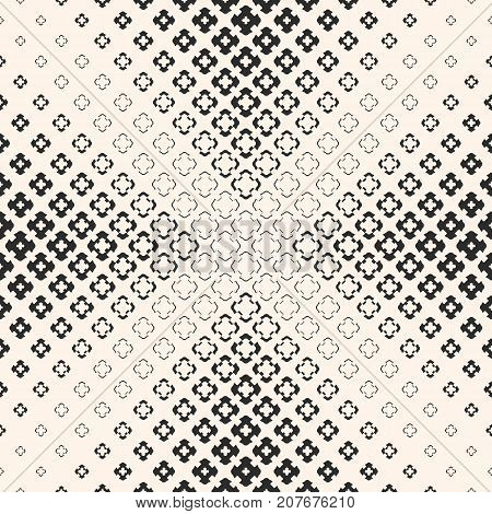 Vector seamless pattern, halftone geometric texture with floral shapes, carved crosses. Abstract monochrome background, gradually transition visual effect in pyramid form. Design for prints. Halftone background. Floral background. Cross background.