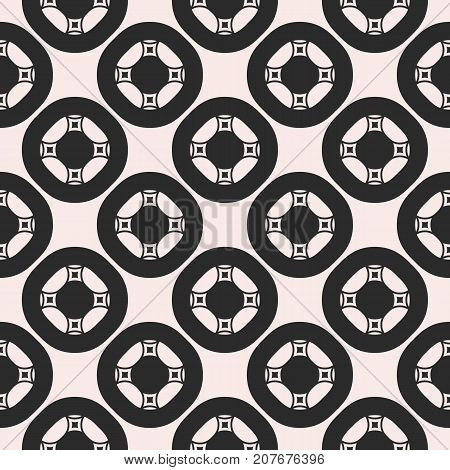 Vector ornamental seamless pattern for tiling. Geometric circular figures, symmetric grid, abstract monochrome square background. Design element for prints, decor, textile, fabric, cloth, digital, web.