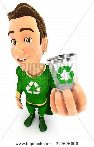 3d green hero holding trash can icon illustration with isolated white background