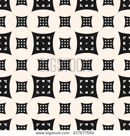 Vector geometric seamless pattern with big and small perforated square shapes, pillows. Simple figures, curved lines. Abstract monochrome background texture, repeat tiles. Design for prints, decor.