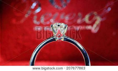 Engagement ring, wedding ring. Diamond ring symbol of love marriage.