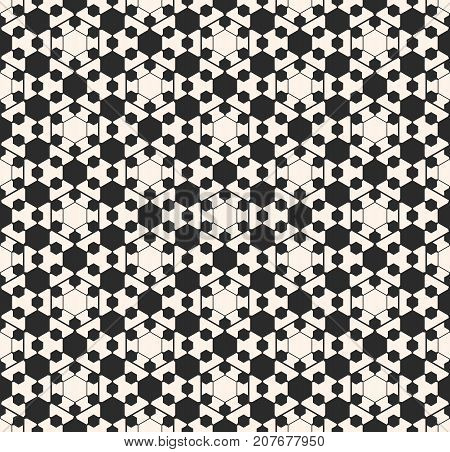 Vector ornamental geometric texture. Abstract monochrome seamless pattern. Hexagons thin lines, delicate hexagonal grid. Black & white background, repeat tiles. Modern design for decor, fabric, web. Ornament pattern.