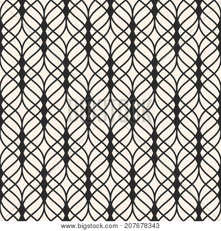 Vector seamless pattern. Abstract luxury monochrome background with thin wavy lines, delicate lattice. Subtle texture of mesh, lace, weaving, net. Repeat tiles. Design for textile, fabric. Mesh background. Lattice background. Seamless background.