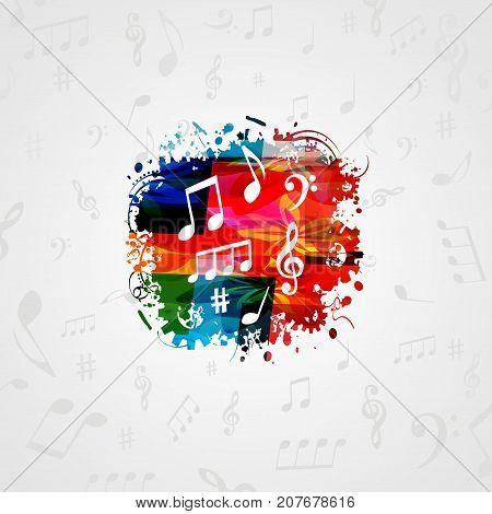 Music poster design with music notes. Colorful music notes vector illustration