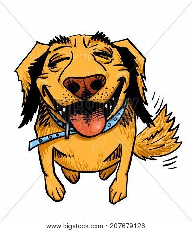 Happy dog cartoon hand drawn image. Original colorful artwork, comic childish style drawing.