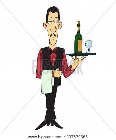 Waiter cartoon hand drawn image. Original colorful artwork, comic childish style drawing.
