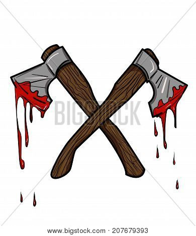 Bloody axe cartoon hand drawn image. Original colorful artwork, comic childish style drawing.